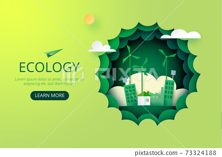 Paper art of Sustainability in green eco city, alternative energy and ecology conservation concept.Vector illustration. 73324188
