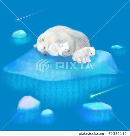 白熊的父母和孩子在美麗的藍色北極海中漂流中留下的冰 73325113