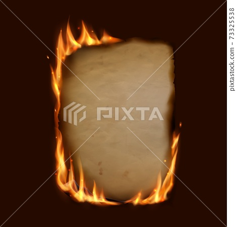 Paper burning in fire flame, realistic burnt paper 73325538