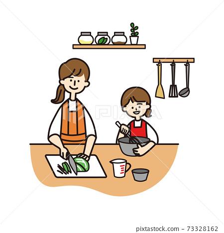 웃는 얼굴로 함께 요리를하는 엄마와 딸 73328162