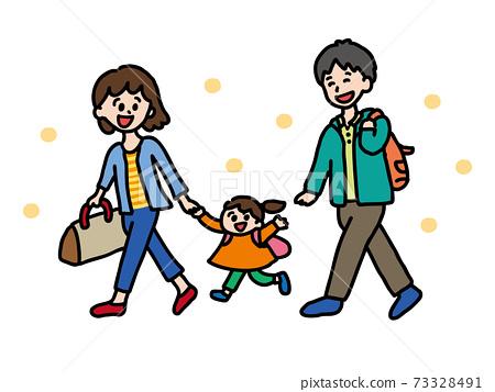 郊遊家庭可愛的手繪插圖 73328491