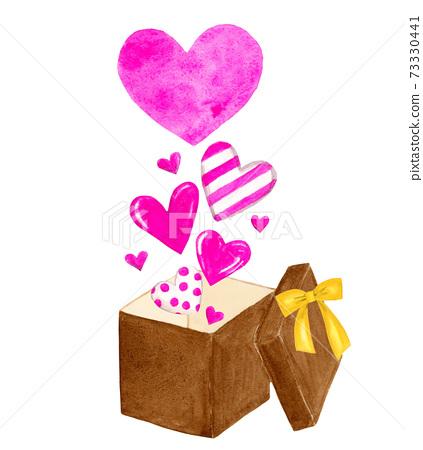 充滿愛心的禮物,水彩畫 73330441