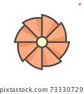 Turbocharger compressor wheel impeller icon. 73330729