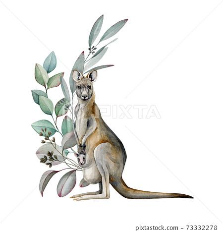 Kangaroo with eucalyptus leaves watercolor image. Australia animal with floral decoration. Beautiful wildlife decor. Evergreen aroma eucalyptus branch and kangaroo hand drawn realistic illustration. 73332278