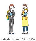 將哭泣的孩子託付給托兒所老師的在職母親 73332357