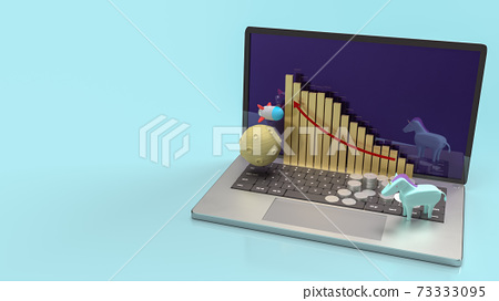 The unicorn and rocket on notebook for startup content 3d rendering. 73333095
