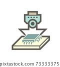 Robot hand place micro processing chip vector icon. 73333375