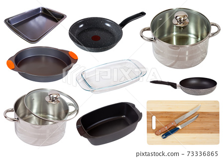 Different household pans isolated on white background 73336865