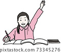 女孩舉起她的手在課堂上宣布 73345276
