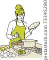 烹調在廚房裡的婦女 73345280