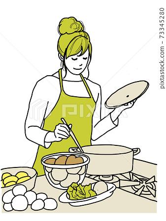 부엌에서 요리를하는 여성 73345280