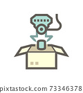 Robot hand put can product into box packaging in production industry vector icon design. 73346378