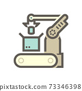 Robot hand put can product into box packaging in production industry vector icon design. 73346398