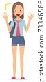 一個背包的年輕女人很驚訝 73346586