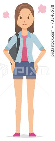 背包的年輕女子很生氣 73346588