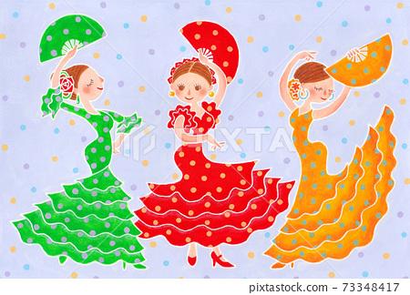 三個女孩穿著五顏六色的圓點裙跳舞弗拉門戈 73348417