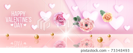 Happy Valentines Day pink love romantic vector sale background, greeting card with hearts, flowers 73348493