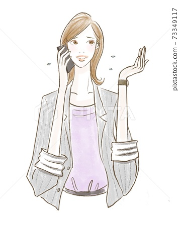 Image illustration of a woman in need working in the office 73349117
