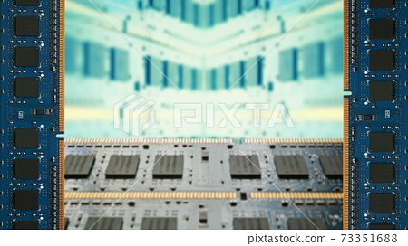 A frame surrounded by additional memory for desktop PCs. Blurred board copy space. 8K size. 73351688