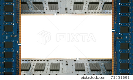A frame surrounded by additional memory for desktop PCs. White copy space. 8K size. 73351691