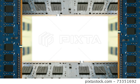 A frame surrounded by additional memory for desktop PCs. White copy space. 8K size. 73351692