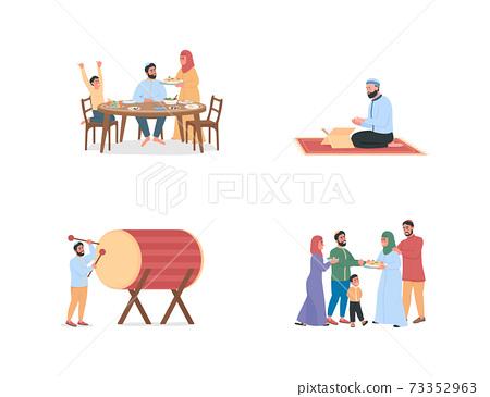Happy arabian people on ramadan flat color vector faceless character 73352963
