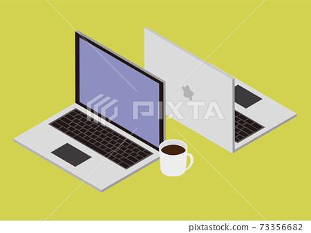 밝은 배경색 PC와 커피의 소재 73356682