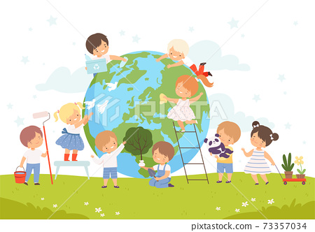 Kids Help Save the World, Children Volunteers Cleaning up Wastes and Plant Trees on the Earth, Nature and Ecology Protection Concept Cartoon Style Vector Illustration 73357034
