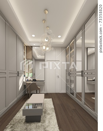 sketch design of interiorwalk-in closet,3d rendering 73358820