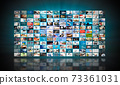 Television streaming, multimedia wall concept 73361031