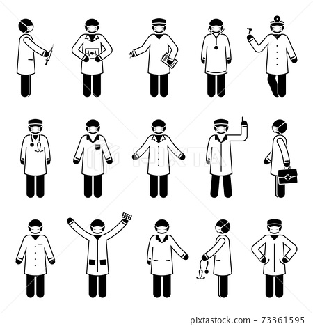 Stick figure doctor man wearing mask vector icon set. Various health worker people postures and poses pictogram illustration 73361595