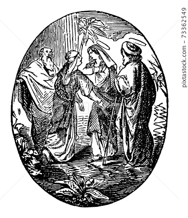 Vintage Antique Religious Biblical Drawing or Engraving of Elizabeth Visited by Virgin Mary. Bible, New Testament 73362549