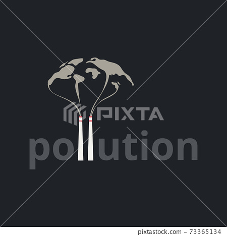 Pollution Letter,Typography design of the earth with smoke and air pollution from city and factory industry building.Stop global warming concept. 73365134