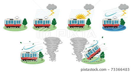 遭受雷暴和龍捲風的火車的矢量圖 73366483