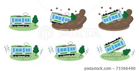矢量圖組的地震和山體滑坡撞的火車 73366490