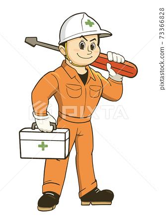 一個男人在工作服與驅動程序的插圖 73366828