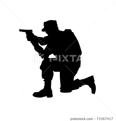 silhouette of military illustration, Military Man Soldier Side View 73367417