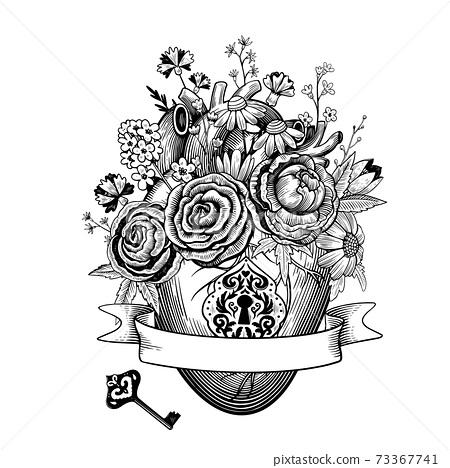 vintage composition of heart with flowers,... - stock illustration  [73367741] - pixta  pixta
