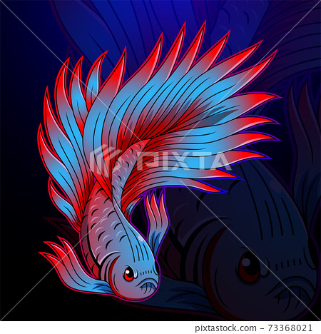 Betta fish esport mascot logo design 73368021