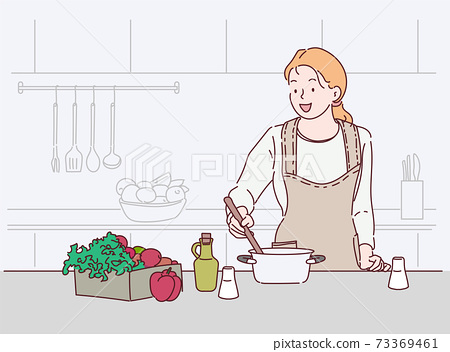 Young woman cooking in the kitchen. Healthy food. Healthy Lifestyle. Cooking at home. Hand drawn in thin line style, vector illustrations. 73369461