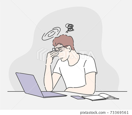 Stressed businessman concerned about hard online task looking at laptop, tired exhausted office worker feeling headache at work. Hand drawn in thin line style, vector illustrations.   73369561