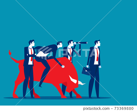 Business with bull market team. Stock market and exchange 73369880