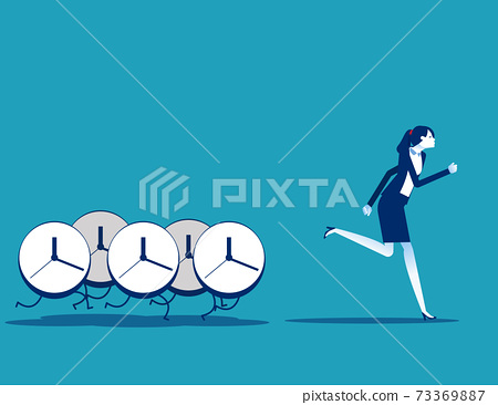 Clocks pursuing after business people. Time concept 73369887