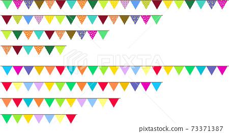 可愛的直三角花環國旗 73371387