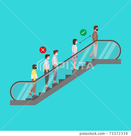 Social Distancing Example of peoples while standing on the escalator.ai 73372339