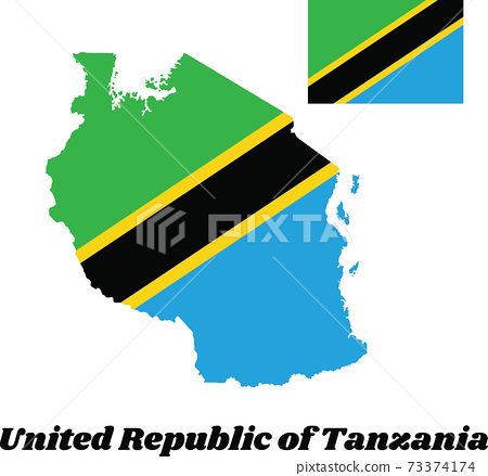 Map outline and flag of Tanzania, A yellow-edged black diagonal band 73374174