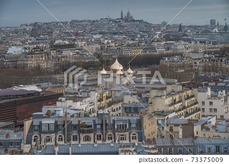 top view of the city of paris 73375009