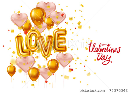 Happy Valentines Day, Love gold helium metallic glossy balloons realistic text, lettering, heart shape flying pink balloons, party, decoration, greeting card. Vector banner flyer isolated 73376348