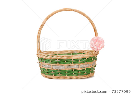Empty wicker basket with ribbon isolated on white and clipping path 73377099