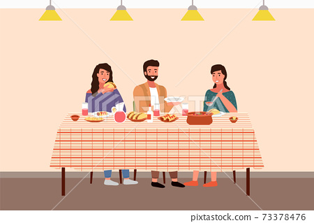 Family at a Mexican-style evening dinner. Girl puts salsa on a guy s plate vector illustration 73378476